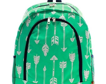 Arrow Print Monogrammed School Backpack Mint Green and White with Navy blue trim