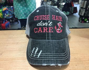 Cruise Hair Don't Care Monogrammed Embroidered Distressed Trucker Cap Dark Gray