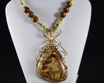 Wire Wrapped Pendant with Tiger Eye Bead Necklace