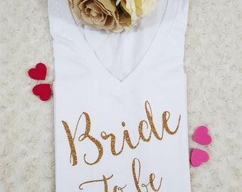 Bride shirt, bachelorette shirt, bride to be, glitter bride shirt, engaged gift, engaged shirt, bride tee, bridal shower, bridal shirt