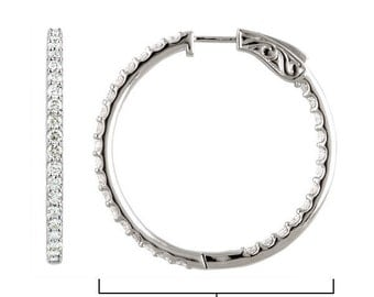5.00 Carats Inside Outside Simulated Diamond Hoop Earrings with secure lock in 925 Sterling Silver
