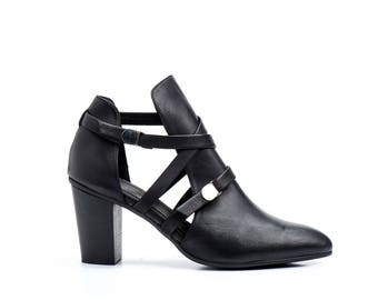 Women Shoes / Wooden Heel Shoes / Pumps / Booties / Stiletto / Black Leather Shoes / Elegant Shoes / Strappy Sandals / Sexy Shoes - Shannon