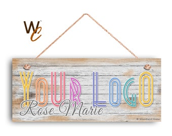 "Company Sign, Place Your Logo on Sign, Personalized 6""x14"" Sign, Promote Business or Boutique, Rustic Wood Style 3, Made To Order"