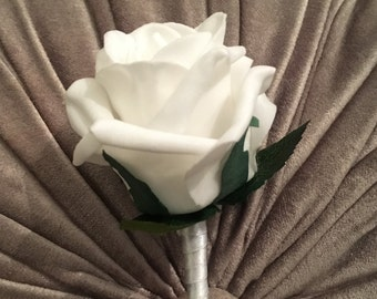 Artificial White Rose Buttonhole/Boutonniere, Groom, Bestman, Groomsmen, Ring bearer