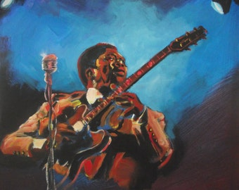 30cm x 42cm Print from original painting by Simon Pritchard of B.B.King
