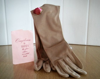 Complexion By Hansen Womens Tan Gloves New With Tags, Hansen Vintage Gloves, Victorian Gloves, Shabby Chic Gloves, Complexion Vintage Gloves