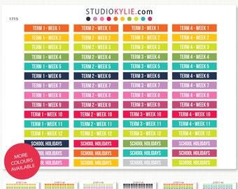 School Term Planner Stickers -  Repositionable Matte Vinyl