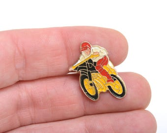 Enamel pin, lapel pin, motocross, dirt bike, sport, adventure lapel pin