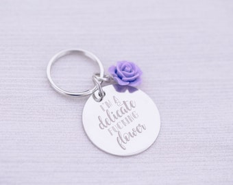 Keychain with Rose - Mature - Custom Engraving - Engraved Keychain - Engraved Jewelry - Delicate Fucking Flower - Boss Lady