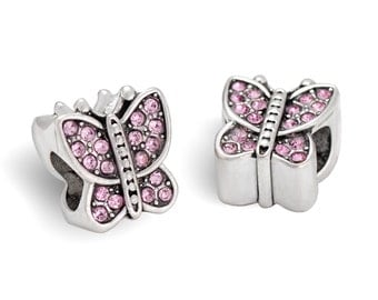 Butterfly European Beads, Butterfly Charms With Rhinestones Fit European Charm Bracelets, #20-BBR