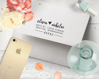 Return Address Stamp, Wedding Address Stamp, Personalized Stamp, Custom Address Stamp, Wedding Gift, Save the Date, RSVP, Housewarming Gift