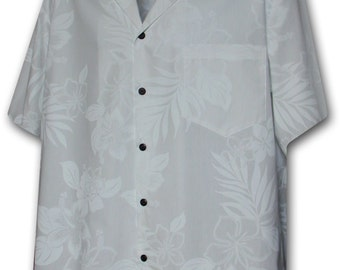 White Wedding Tropical Floral Pacific Legend Hawaiian Aloha Shirt 410-3585