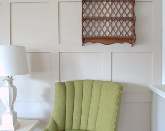 Vintage Wooden Lattice Decorative Display Shelf,  Large 2 Shelf Nic Nac Wall Mounted Hanging Shelf