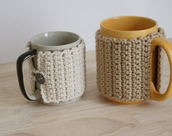 PATTERN - 2 Crochet mug cozy patterns - 2 crochet cozy patterns - Beginner crochet pattern - Crochet coffee mug cozies pattern - 2 patterns