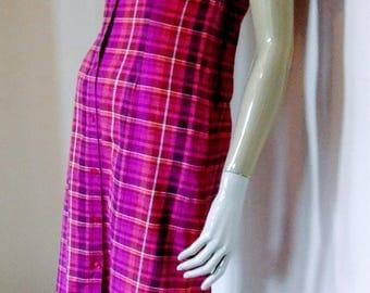 Original Vintage 90s, Laura Ashley Dress, Pink White & Red, Cotton Plaid, Size UK 10 USA 6