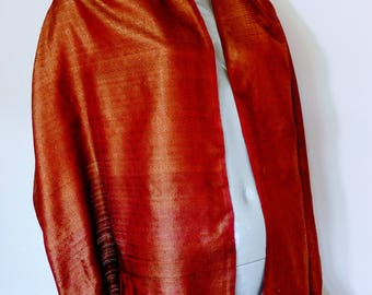 Vintage Made In India Burnt Orange & Red Shantung Silk Scarf Very Large Fringed Rectangular Wrap Shawl