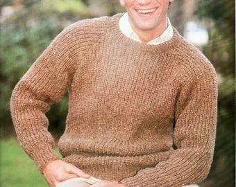 "mens fishermans rib sweater knitting pattern pdf mens ribbed jumper 36-42"" aran worsted 10ply mens knitting patterns pdf instant download"
