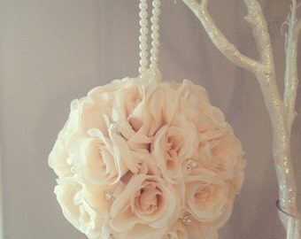 Peach Blush flower ball. Premium silk. Brooch & pearl handle WEDDING CENTERPIECE pomander kissing ball flower girl Choose Rose Color