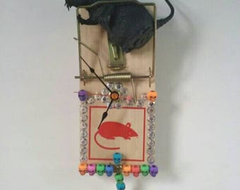 Repurposed Rat Trap Clock, Upcycled, Rat Trap Clock, Functional Art, Rat, Rodent, Skulls, Made By Mod.