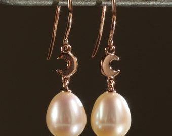 SALE! Dainty Solid 14K Rose Gold Freshwater Cultured Pearl Crescent Moon Dangle Earrings