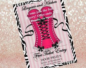 Victoria's Secret PINK Party Theme, Lingerie Bride-To-Be Shower Invitation