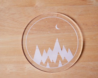 Drink Coaster - Clear - Mountains and Sky - Adventure - Acrylic - Little Mountains