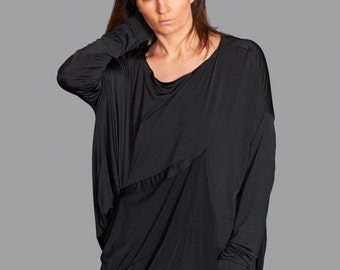 Black Tunic Top, Asymmetric Top, Black Blouse, Long Sleeved Top, Goth Style, Formal Top, Long Blouse, Casual Top, Drape Top, Party Top
