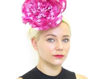 Large Hot Pink Cream Peony Flower Fascinator Races Wedding Hair Floral Vtg 591