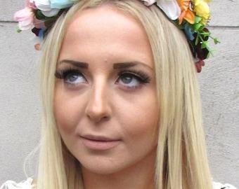 White Pink Blue Floral Rose Flower Headband Headpiece Garland Hair Crown 1344
