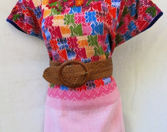 Authentic Handmade Mayan Guatemalan Embroidered Huipil from Coban Guatemala tribal blouse