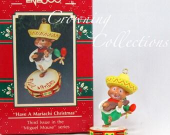 Enesco Have a Mariachi Christmas Miguel Mouse Ornament Treasury of Christmas Mice Feliz Navidad Maracas Guitar Music Vintage 3rd in Series