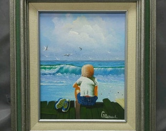 Artist signed original painting boy watching waves on the  seashore surf beach seascape