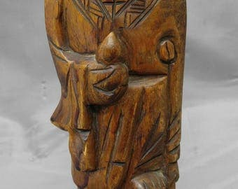 Old vintage hand carved wooden Asian figure Chinese Taoist Immortal Li Tieguai Iron Crutch wood carving statue figurine