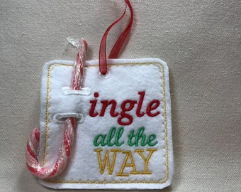 Embroidered Jingle all the way candy cane holder