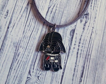 "Darth Vader Charm Choker Necklace (Star Wars) 15"" - Choose Your Own Color"