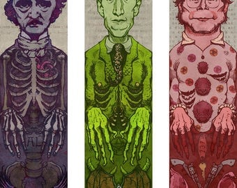 Horror Authors Bookmark Set  Poe / Lovecraft / King by Award Winning Artist Brady Stoehr