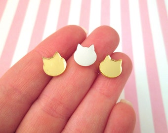 5 Cute Mirror Finish Laser Cut Cat Cabochons, Double Sided #926