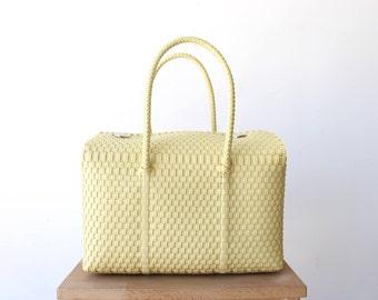 Mexican Vanilla Handbag, Handwoven Mexican Tote, Oaxaca Tote, Mexican Plastic Bag, Mexican Basket, Mexican Art, MexiMexi, Picnic Basket