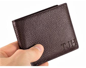 RFID Blocking, Laser Engraved Genuine Leather Bifold Men's Wallet, Christmas Gifts, Gifts For Men, Anniversary Gifts For Him Gifts For Dad