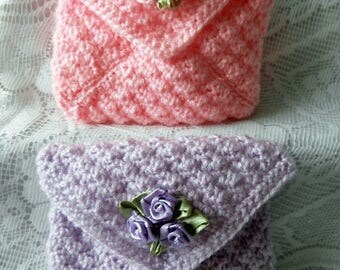 Crochet Rose Purse - Knit Wedding Clutch - Pretty Lacy Blue Green Pink Purple Yellow Peach Lace Trim Flower Decoration Snap Fastener Bag