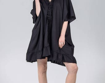 Woman's summer dress / Black pure linen kaftan dress / Oversized summer dress / Shapeless black summer tunic / Fasada 1784