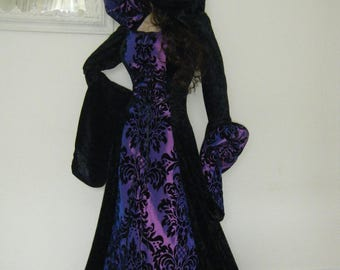 Medieval Renaissance Halloween large hooded tudor dress made to order any size