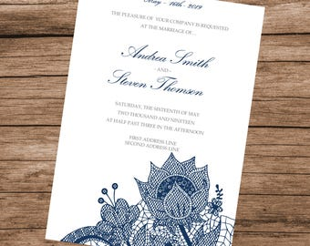 DIY Blue Floral Lace Wedding Invitation Template, Lace Flowers, INSTANT DOWNLOAD, Editable Text & Colors, 5x7