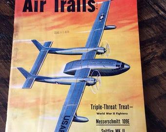 Vintage AIR TRAILS MAGAZINE, December 1952, Aviation Magazine, Messerschmitt 109E, Spitfire, Mustang