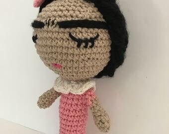 Frida Baby rattle, frida Doll, Frida, Amigurumi Doll, handmade doll, Crochet doll, Frida amigurumi doll, Frida crochet doll, Baby rattle