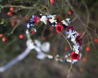 Folk hair wreath Bridal hair wreath Red blue white wreath Slovak colors Floral wreath Hair crown Wedding hair accessories Hair jewellery