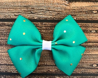 Teal Hair Bow, Gold Polka Dots Hair Bow, Infant Hair Bow, Teal Polka Dot Hair Bow, Alligator Clip, Nylon Headband, Toddler Hair Bow