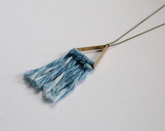 SALE* Indigo Fiber Fringe Necklace on Brass Triangle