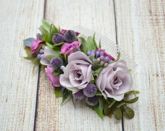 Purple Flower hair comb Gift for girlfriend Bridal hair comb Birthday gift Bridesmaid hair comb Wedding hair comb Wedding comb dusty purple