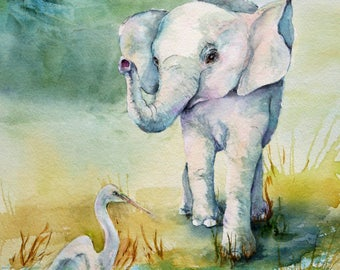 The Waters Edge - Elephant and Heron